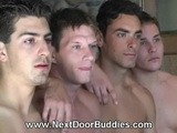 gay porn Muscular Male Porn Studs Behin || Muscular male porn studs Dylan, Jeremy, Taylor and JonnyT hang out behind the scenes, posing for the camera and playing cards until the loser gets gangbanged in this all-male orgy for Next Door Buddies.