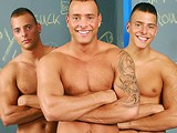 The Visconti Triplets are up to no good when they enter a public bathroom fully equipped with glory holes and a hot and horny stud hungry for dick. This cock sucker better be ready for three times the work as he sucks and strokes Joey, Jimmy and Jason.   This is the Triplets' take on the classic glory hole genre. With triple the pleasure, the camera has trouble knowing what hot action to focus on since there is always more than one thing going on at the same time. It's a one-stop shopping affair with plenty of ass licking, cock jerking, blowjobs and, of course, a solid dose of hardcore backdoor pounding with a huge serving of fresh cum for dessert.