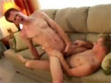 Blonde Corey gets deep throated by ginger Greg and then fucks Greg long and hard !