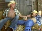 Big-dicked Dillon Buck gets his dick service in the barn. Cock-hungry Angus cleans up Dillon's boots with his tongue, and then, he cleans up Buck's huge, uncut cock. With his rock-hard dick sticking straight up in the air, Dillon invites Angus to make it disappear up his tight butt hole.