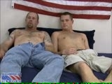 "gay porn Sergeant Brent & S || We have the pleasure of two marines together at the same time with Staff Sergeant John and Sergeant Brent. These guys are true grit with a ton of sex appeal built in. Both men have served in Iraq at different times and they share a sense of Marine ""esprit de corps"". Brent's muscular and mature build is complemented by John's youthful, but masculine, virility. The guys are interested in seeing what it's like to be with another marine. Brent has only had one other encounter with guy and it was here on All-American Heroes. Now is his second chance to see what it's like-this time with a member of his own branch of the military. Once the guys start to work on their cocks while watching some porn, John is eager to service the more experienced and older marine. He sucks off Brent's thick cock while Brent watches the video and tries not to look down. After a good long service by his fellow soldier, Brent decides he's going to show John how to take it like a man. He bends John over and gives the Staff Sergeant his cock to the hilt doggie style. John moans and grunts, but takes it bravely. Once Brent has worked John's ass over with a good pounding, he is ready to let loose an avalanche of cum. He flips the young marine onto his back and coats his face with thick pools of white jizz. John obediently waits for the tattooed hunk to unload his balls with grunts and thrusts."