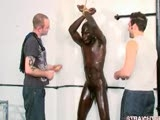 gay porn Benjamin Roped Against The Wal || Benjamin knows there's no way out. The big black boxer is doing his best to be stoic and not show us how scared he is, but his eyes betray his misery at this humiliating predicament. With his hands tied securely out of the way by Reuben, I taunt Benjamin, getting up close into his personal space and really psyching him out. When he kisses his teeth at me in disgust, I shove a gag into his sexy big mouth, spread his legs with an unforgiving metal spreader bar, and get to work punishing him. A hard flogging soon has the dumb man dancing in pain, making us laugh as he struggles in futility against his restraints. I pour oil all over the boxer's beautifully rippled, lean body, making every muscle gleam, his solid black limbs shining as he rocks from side to side. We pin clothes pegs to Benjamin's nipples, making him wince and moan, so of course we get carried away and put pegs all up and down his defined abdominal muscles. As Benjamin appreciates just how much agony all those clothes pegs are capable of causing, we pick up our floggers and make it even worse for him: the only way they're coming off is with a whipping.Our floggers lash into Benjamin over and over again, each hit taking off a mere one or two clothes pegs. It takes several hard blows for the last few to come off his sensitive nipples, and every time I raise my arm, the boxer shies away like a frightened animal. He's cowed, drooling all over himself, humiliated, and I'm getting more sadistic by the minute. We turn him round and thrash his round bubble butt even harder, our dicks stiffening at how the slippery oil just seems to tempt our fingers down into his crack, leading to his inviting black arsehole. Reuben is the first to ram a finger up into the boxer's hole, pushing his way past the resistant sphincter to probe up all the way into Benjamin's guts. Seeing the big man wincing and gasping under the anal onslaught entices me to thrust my finger inside him too, fingerfucking him harder and faster, eliciting yet more agonized faces from Benjamin. We even fuck him with our fingers together, hammering in and out, stretching him up for the torment to come. When Reuben brandishes the glass dildo under his nose, Benjamin nearly shits himself in fright. But there's no avoiding it - he's about to have his pristine anus ruined for good with a large, hard tool. We spread his round arse cheeks open and shove the dildo deep into his arse, while Benjamin almost chokes on his ballgagged moans, gagging in pain at the rough intrusion. With the dildo firmly lodged in place in his arse, Benjamin is a picture of abject, drooling humilation. And we've hardly even got started.