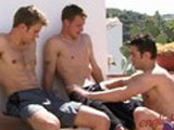 "A scorching hot day in a tropical location and Justin is taunting two str8 boys! He gets away with murder with Liam and Hayden; feeling them both up through their boardies and dives into Liam's, tried to pull him out, but its too aroused and he has a real tussle trying to get Liam's massive erection out some tight shorts! Justin dives down on Liam and not content with a mouthful he is feeling up Hayden and pulls down his shorts and blows Hayden who in turns blows Liam! The tropical heat has clearly got to the lads who cant seem to get enough cock; though Liam is soon pushing his big cock up Justin's tight and willing hole! Justin loves str8 cock and he just loves getting slammed, which is just as well as Liam pumps Justin hard"" you can almost smell the rubber burning! Then its Hayden's turn; Justin sits on Hayden's cock and you could almost forget Hayden is fucking his first man hole! Justin rides Hayden real good followed by Hayden fucking from behind showing off his active ""rabbit thigh action!"" Some fucking later and Justin cant hold on shooting it all over himself; though its nothing like the mess the str8 guys shower him in as they both unload big loads all over Justin! Wow a big step for Hayden and a sore Justin!"