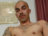 Hot bilatinmen gets naked and shows off his gangster body and strokes off his big latin verga and shoots a big warm load on himself