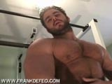 Frank DeFeo in his hairy muscle workout and jerk off. see more at frankdefeo dot com