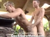 "gay porn Steven Daigle And Brady Jensen || It's BBQ time! After cracking open a cold beer and firing up the grill, Brady asks Steven how he likes his sausage. Steven responds ""Rare and hard,"" as they tease each other jokingly. Brady's rare beauty and hard bod is exactly what Steven hungers for. And Steven Daigle is far from your ""average Joe."" His glacier blue eyes, sculpted muscles, and fat cock are a cut above the rest. The two super-studs go back and forth, sucking and pounding each others' tight assholes. This is one of the hottest flip-flop fucks we've ever had finishing with two bangs as both guys launch their loads onto Brady's 6-pack abs."