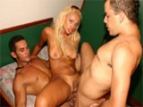 During this hot 3way bisexual shoot the guys were into each other and the female !