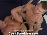 gay porn Bo Dean And Tyler Sain || &quot;Bo Dean and Tyler Saint&quot; is one of our most requested pairings ever. Long at last we finally get these two ripped super-stars together. It's summer time and both hunks are at their beach-body best. If you're a fan of muscles you'll have plenty to admire between Bo and Tyler, especially the massive ones dangling in between their legs. Both guy's tools get a hot oral workout, then Tyler becomes the latest lucky SOB to get his ass pounded by Bo. Bo knows Tyler can take it, so he gives it to him hard and rough. Tyler drops his load while bobbing up and down on Bo's thick meat. Bo rewards him with a juicy facial soon afterward.