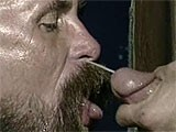 Cumming in the face of a beard mature man.
