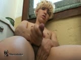 Brandon is a glam rocker twink with a nice big uncut dick. After washing his hands, Brandon gets horny and decides to take off his clothes and sit on top of the toilet to rub one out. His tight foreskin flips back and forth over the head of his dick as he pounds away on his thick boner.