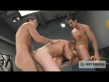 Mark Talon tells Phenix Saint that he has a lot of testosterone and the two beefy hunks start to wrestle. Before you know it Phenix has his fat cock down Mark's throat and orders housemate Trent Locke to come in and fuck Mark's huge bubble-butt. Mark may have the testosterone but Phenix has the balls - he shouts orders and dominates the action - making sure both young hunks get their turn in the middle. Trent ends up on his knees covered in loads of cum!