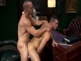 This week US porn mega star Samuel Colt comes to Menatplay towers for a series of meetings in the UK, and like any big star he demands his own entourage including an assistant, a secretary and not least his very own personal chauffeur. And as you will have come to expect from us at Menatplay, we have certainly delivered once again by giving him Rob Nelson for a driver, something which clearly takes Mr Colt by surprise as he seems to find it hard not to be distracted by Rob's handsome looks, muscular body and in particular his big, beefy ass beneath his suit trousers. Eventually the sexual tension is too much to bear and Samuel tears the clothes of Rob's body before eating his ass and fucking him hard over his office desk.