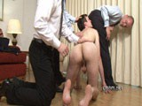 The dominant men in the CMNM office always mix business with pleasure. They enjoy wearing suits and working hard, but when they want to relax they get an eager young businessman in to strip, use and train to grovel at their shoes. The hot manly scent that emanates from his big sweaty ball sack and his tight asshole drove them into a frenzy. Matthew was overwhelmed as the three of them demanded his attention, groping his naked body all over and making him display his cock and ass. This is a crash course for this athletic hetero man in being utterly subservient to the desires of three clothed businessmen. Download and save the new ClothedMale/NakedMale video from CMNM!