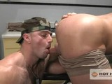 gay porn Kyle King &amp; Heath  || Hot House Exclusive Kyle King ensures he's the last soldier in line for his &quot;high-and-tight&quot; from military barber Heath Jordan and hops up in the chair giving Jordan a good look at the bulge growing in his skivvies. When the shears go down the cocks come out and the hung studs swap juicy blow jobs. After eating King's huge round ass, Jordan takes his place in the barber's chair so King can sit down on his fat cock. King flips him over and fucks him hard.