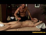 Brenden is straight guy getting his first erotic massage. He has a thick, beefy body and a pretty mushroom head cock.