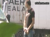 EricDeman has filmed more hidden camera footage of truckers stopping for a quick piss near a carpark. This sexy masculine fella doesn't even bother to walk up to the bushes. He pulls his dick out in the open for a piss with cars driving by. It makes us so horny spying on these guys taking a piss who have no idea we're watching them. Download thousands of horny videos of men exposed at EricDeman!
