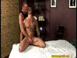 Eddie Kordova is a tanned skin, tattooed, muscle hunk who gets very turned on by his erotic massage from Chad Brock!