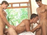 gay porn 3-way Muscle Fuck || What happens when you bring 3 hot, horny and hung muscle guys to a pool? Hot sex! This is exactly what happens when Dolph Lambert & Kris Evans are hanging out with Sascha Chaykin. Since Sascha is one of the best bottoms around I guess its good he is with 2 hung, power tops. Watch as the action unfolds into hot steamy sex exclusively from BelAmiOnline!