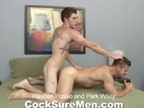 gay porn Hayden Russo And Park  || As hot as Hayden Russo's first two scenes were, they were just an appetizer compared to this bareback scene with Park Wiley. As per usual Park is running at 110% but it's his ability to draw that little extra out of his partners that really sets him apart from the other studs in our stable. For most, deepthroating Hayden's cock would be quite an accomplishment but for Park it's just another day at the office. Just thinking of Hayden's dick inside your ass would be a challenge but for Park...heaven. Park jumps on that monster and within no time he's spraying a load over Hayden's chest while still bobbing up and down. Hayden makes him pay, fucking Park as hard as he can with his bare cock. Park is sent into orgasm once again right before Hayden blows his load all over Park's ass. Hayden isn't finished though. He sticks it right back into Park and continues to pound away.