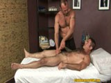 Nick Morretti definitely likes the massage Chad Brock gives him and in return comes all over his hairy abs!