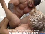 gay porn Sales Job: Zeb And Bra || Massive muscle man Zeb Atlas is working out in a gym when he's approached by salesman Brady Jensen. Brady's company is looking for a model to promote their product and who better than Zeb? Unfortunately Brady's company is a little short on funds. One look at Brady and Zeb decides he'll take his pay out in trade. He literally RIPS the shirt off of Brady before ordering him to suck cock. Brady wouldn't imagine turning down such an offer, and he's got to make sure his potential client is satisfied. Zeb bends Brady over a fitness ball and buries his boner deep inside Brady's ass. Zeb slams every last cent out of Brady's tight hole until they each counter with their 'money shots'.