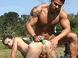 See this sexy latino muscled hunk being caressed by his gay lover. See them in deep throat hard cock sucking and nasty tight gay hole fucking with nasty cumshots in the end.