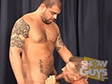 Hunky pornstar Manuel Torres finds the kind of guy he likes to fuck in hunky Mitch Colby!