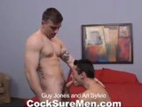 gay porn Guy Jones And Ari Sylv || Guy Jones and Ari Sylvio possess the good looks and sexual cockiness that can lead to only one result: hot, passionate sex! The action gets off to a promising start with both guys plunging their tongues down each other's throats. Guy peels off Ari's shirt, revealing the compact, tatted up body that gets pulses racing. Both studs are so into making each other feel good, it's hard to know where to look. From the 69ing to butt play, it's all a prelude to the moment Guy sticks his ample dick inside Ari's perfectly formed muscle butt.