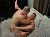 gay porn Horny Muscle Fuck || March Madness is not quite over sports fans! I have on my very lucky couch two muscle bound hotties that ANY team would be happy to claim as their own. Trent is a masculine stud from the Motor-city and sizzling, straight man Devin hails from the deserts of Arizona. Trent is quite the BI guy that swings both ways, and by the way he is eyeing Devin, you can see which direction his big pendulem is going today. He has his sights dead-set on to this mountain of man's straight ass. Sparks really fly when these two titans collide! I even made them arm wrestle to see who got to be the top. You will just have to guess to find out who gets plowed in this battle of the gods!