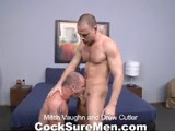gay porn Mitch Vaughn And Drew  || These two studs share more than a passing resemblance to one another. Sure, Mitch and Drew both have nearly-shaved heads, tight compact bodies, and are very well endowed. But it's their pure unadulterated sex drive that makes this video such a turn-on. They love sucking cock and who can blame them? Both men have a knack for blowjobs (wait 'til you see our overhead shot of their 69 action). The hotness level goes up even higher when the assplay gets started, which gets top-man Drew amped up to drill Mitch's tight and hungry hole. All the hot fucking turns out to be a deeply satisfying way for both men to blow their loads.