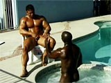 Two horny bodybuilders having sex outdoors.