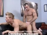 gay porn Brady Jensen And Spenc || Brady Jensen and Spencer Reed are two hot studs meeting up for the first time. The action starts on a black leather sofa, both men locked in passionate, deep-throated kissing. The animal attraction is hard to ignore. When Spencer moans, &quot;you are so fucking sexy,&quot; as Brady chows down on his thick piece of meat, we couldn't agree more. The sight of Brady's muscle butt flexing as he face fucks Spencer is adult entertainment at its best. Lucky for us, these boys are just getting started. The erotica menu also includes Brady getting rimmed by a clearly delighted Spencer who then jackets up before thrusting his cock deep into Brady's waiting ass. Versatility is one of Brady's greatest assets and he lets Spencer fuck him every which way. By the time are finished, a huge pool of both guys' cum is dripping all over Brady's gorgeous six-pack.