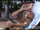 Sexy leather daddy Thom loves to relax with a good cigar while he strokes his big dick in the Florida sun. Watch him bring himself off, then send him an email letting him know when you want to come over for an encore.