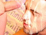 Horny bald dude gave his boyfriend nice anal hole fucking with big cumshots. See his cum squirts out in his asshole and covering his face in this bareback fucking action.