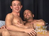 In this scene youngster Tucker Forrest and his big, Prince Alberted cock fucks hunky Daddy Chad Brock!