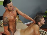 Dirty Mr. Sanchez returns to take advantage of my hot little twink, Glen Woods. They instantly hit if off and couldn't keep their hands off each other, so I skipped the interview to let them go at it on their own. Eating each other's faces off right from the get go, and making out more passionately as the clothes come off. The big dicked Latino makes the young furry blond suck him off and before Glen gets the chance to get blown too, Triston is already sticking his uncut cock into his hole. Slamming his man hole over and over, he makes Glen take every inch deep inside. Beating his ass into submission, Triston works his tight asshole until he is ready to bust his nut. Pulling out of Glen's used ass, he rips off the condom, and squirts stream after stream of hot cum down the twinky bottom's throat. Coating the youngster's face and mouth in pearly white man juices, I would have to say a white boy has never looked so good getting fucked!
