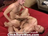 gay porn John And Scott || In this red-hot video, the very first sight is John Magnum's perfect ass, on display in perfectly-fitted jeans. Lucky for us, his fuck buddy, Scott Campbell, wastes no time in pulling down those denims so he can kiss and lick John's bubble butt. This sexy duo soon strips down, revealing their masculine, hairy bodies and rock-hard dicks. Although the extended 69 session is easy on the eyes and both studs suck and slurp to their hearts' content, it's their asses that grab our attention and, most likely, will grab yours as well. From the beginning, it's obvious Scott is anxious to slide his 7-incher deep inside John's backside and, sure enough, he gets his condom on and plunges that dick down his buddy's hungry hole. Scott stops John just before he cums, extending their fuck session right to the edge. The guys eventually pool their loads together, a perfect finale to a great show.