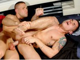 Hung Stud Jordan Fox pushes muscle boy Matt to his limits in this intense scene, using his very think uncut meat as forcefully as he can, face-fucking, getting deepthroat, then ploughing him hard in three positions before shooting into his mouth. Extreme.