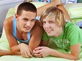 Gorgeous twinks Camden Christianson and Kaiden Ertelle are playing with their toy boats in the pool, when passion strikes and they jump on each other. Quickly back up in the bedroom, they kiss and touch each other hard bodies. They exchange blowjobs and Kaiden gets his superb ass rimmed and sucked. Camden pounds him in multiple positions until he ends up properly covered in twink juice!