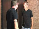 Landon Haynes is pissed off because Kayden Daniels owes him money and doesn't have it. He threatens to beat it out of him, but finally tells him that he wants to fuck him like a bitch boy. He takes Kayden's pants down and feasts on his ass before turning him around and sucking on his hard cock. He then fucks him hard for a while and Kayden shoots his load while getting fucked.