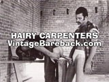 gay porn Hairy Carpenters || This perfectly matched pair of gay clones are the ultimate representation of mid-70's porn aesthetic. Both have dark, mediterranean good looks with slender, but defined physiques and natural body hair. One has the classic pornstache with long sideburns and wears a plaid flannel shirt. The other sports a dark beard, mirrored shades and a tight white insulated longjohns shirt. Models from this scene were chosen to grace the dvd cover of hairy muscle daddy collection because of their authentic vintage porn look. <br /><br />the scene opens with the pseudo-construction worker (who is humorously wearing a batter's helmet?! ) getting a blowjob in a brick-walled warehouse under construction with ladders, saw horses and scaffolding used for fucking. They both have big, thick weighty cocks and each love sucking and getting sucked equally, as well as taking turns topping and bottoming in intense fucking segments. They even get inventive by having one guy hang upside down from the scaffolding while getting rimmed and plowed in the ass.