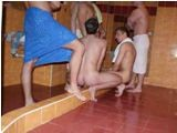Raw sex with lot of boys at public sauna
