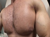 Alain lamas sexy muscle hunk shows off his chest workout and gets those pecs really pumped up showing off his amazing nipples and then plays with his cock and ass till he bust a nut!!