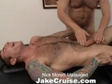 "gay porn Nick Moretti Massaged || Every massage begins a little differently. Some guys are laying on the table, butt-naked, when i walk in. Others prefer to greet me standing up, wearing nothing but a towel. With nick moretti, a hot-blooded italian bodybuilder, we started with lots of tongue before his huge hard-on caught my attention. When i finally got him face down on the table, my own cock was in the right spot at the right time and i found out just how good nick is at blowing a guy. My self-control kicked in at last and i oiled up nick's backside, working my fingers deep into his sore muscles (okay, they also went into a couple other key spots! ) the sheer hotness of everything led to me stripping down and feeling my cock up against that bubble butt. Nick's flexibility came in handy after he flipped on his back for a ""jake cruise"" brand of tantric massage. You could say we both gave our all for this rubdown and you'll see the cum to prove it."