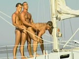 Three sexy muscle hunks having sex outdoors.