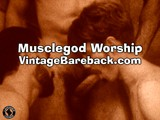 gay porn Muscle God Worship || The muscle god is clearly the center of attention in this scene, as the other two focus on his needs completely. There is a tall otter-type guy covered in fur with a beard that makes quite an impression, too, as well as the obedient submissive boy with the classic 70's porn mustache. <br /><br />once they get going, as you see in this sample clip, the big muscle guy sits on one guy's face while the hairy otter guy sucks his cock. The bottom gets flipped over and fucked by the man of steel, with sinewy ab muscles flexing. The big finale is when the otter and the muscle god both shoot their loads in the face of the submissive boy. <br /><br />you can see the whole scene in glorious sepia tone right now in the vintage bareback vip room, just get your membership and start watching!