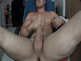 Stroking my big fat cock real fucking hard, my balls are going up and down slapping my thick quads getting real excited until i explode a huge load!!!
