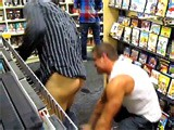 This little cocksucker roaming around the video store was trying to shop lift. We showed this punk some manners and sharked his ass
