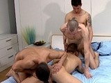 gay porn 4 Way Man Orgy || Well, i figured we needed a special way to celebrate our 400th film release and so i thought we would have one guy for each 100 films on the site! Yep, 4 carefully selected uncut guys with big chunky dicks and doing what blakemason does best - having hot, horny, uninhibited sexy fun with each other for our enjoyment ;-) this one, my friends, is a truly special spectacle of hot man on man on man on man action! Straight down to business, i say a quick &quot;hello&quot; to the guys before leaving them to really enjoy themselves. Matt, being his usual horny self kicks things off by getting the others naked. Once the clothes were out of the way everything goes - it's just one massive, frantic suck-fest with nipples, faces, cocks, ass's and feet all getting plenty of attention! Each guy eagerly takes his turn to both give and receive a true oral worship session - simply great:-) but hey, this is an orgy and tony's the first to offer up his ass for the enjoyment of the others. Sitting proudly down on matt's fat uncut cock, he rides it like a trooper whilst it's buried to the hilt! Then robbie has his way with tony while matt &amp; jack happily tease and suck away... waiting for the next hungry hole! Jack finds tony's, and matt ploughs into robbie. With all the excitement tony completely looses himself and he's the first to spill his load, quickly followed by robbie, then matt, and finally jack - all drenching tony in a super sticky, creamy mess...