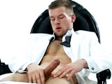 One of our favourite straight boys, David Jones is back on Menatplay and looking hotter than ever in this James Bond style Black Tie. Or rather in Bond villain style as beneath the sharp and elegant evening suit lies a tattooed, bad boy who knows exactly what to do to charm you and get his way with you. Off comes the crisp white shirt to reveal a perfectly ripped torso covered in soft blonde hair. From his muscular chest and perfect nipples, down to his abs and leading you down to his hardening, uncut dick. Stroking it whilst lifting his legs to show you his tight, hairy hole which he plays with teasingly, making you wish you were close enough to lick it. But David is in no rush, and likes to tease you until just the right moment when he has you at his mercy and gives you exactly what you want.. a hot, juicy cumshot all over his chest as you blow your load watching him.